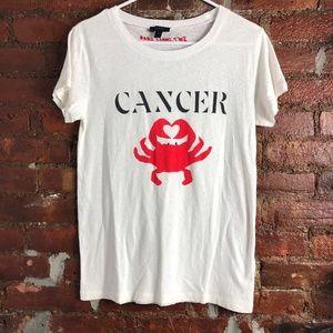 J. Crew Zodiac Cancer Crab Cream Tee M